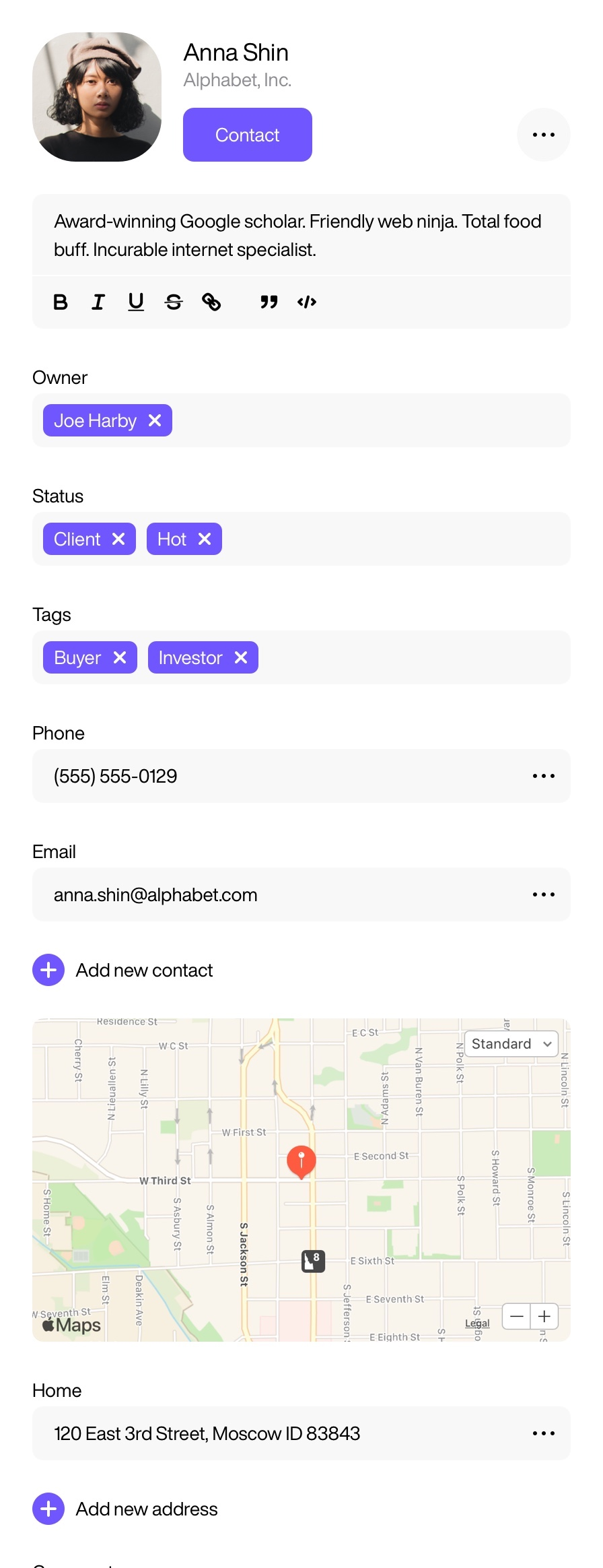 Wovax CRM for real estate - contact view
